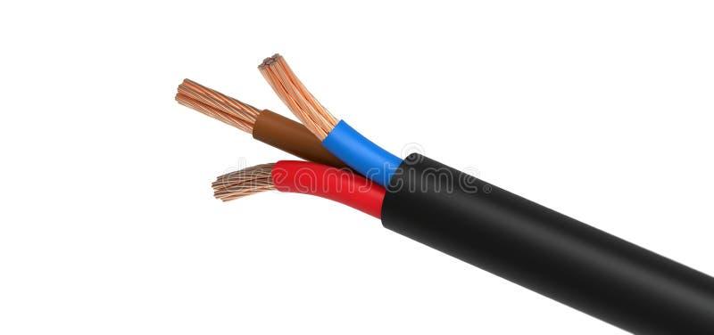 与三缆绳的电导线 免版税库存图片