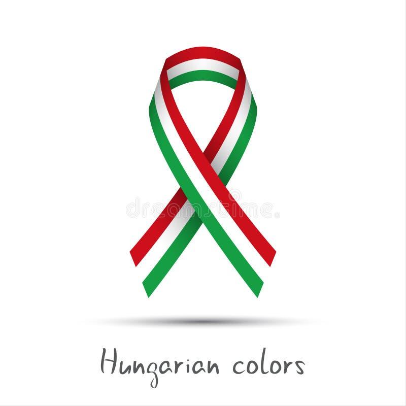 与三色的匈牙利人的现代色的传染媒介丝带 向量例证