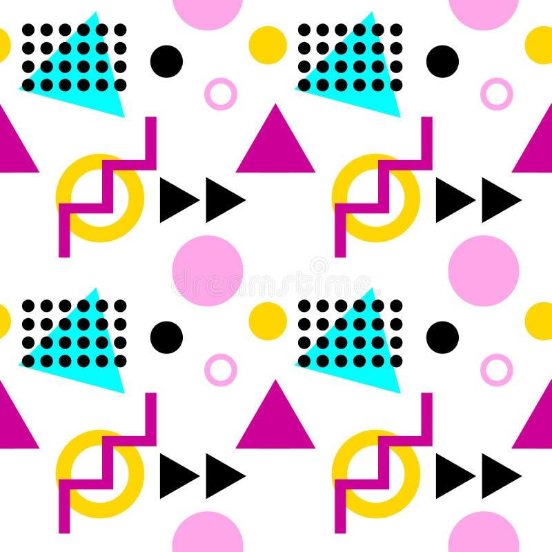 与三角、小点、之字形和圈子的无缝的几何样式 库存例证