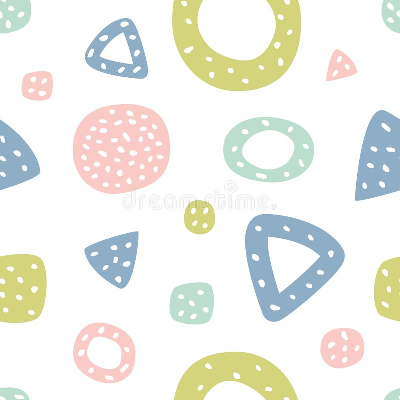 与三角和圆点的幼稚无缝的样式 织品的创造性的纹理 向量例证