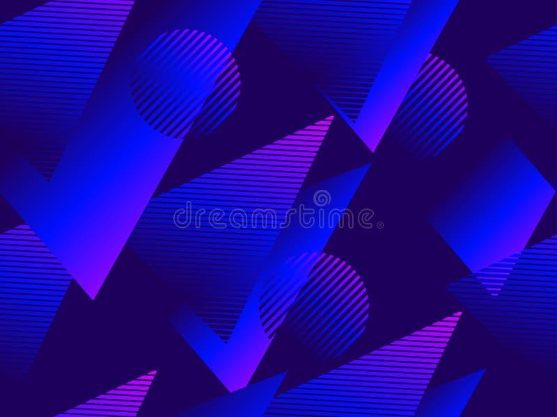与三角和圈子,蓝色梯度的几何无缝的样式 ?? 皇族释放例证