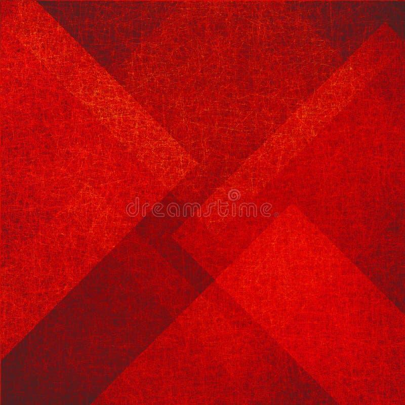 与三角和金刚石的抽象红色背景在与葡萄酒纹理的任意样式塑造 库存例证