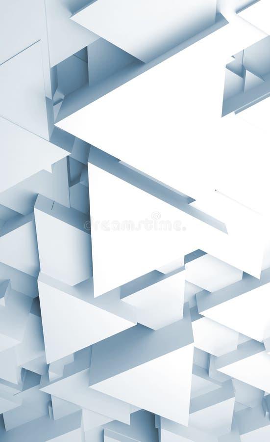 与三角块3d的摘要垂直的数字背景 皇族释放例证