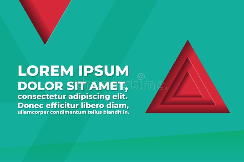 与三角形状和文本空间的抽象多角形传染媒介背景-红色和绿松石颜色 库存例证