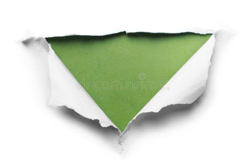 与三角形状的白色被撕毁的纸 免版税库存照片