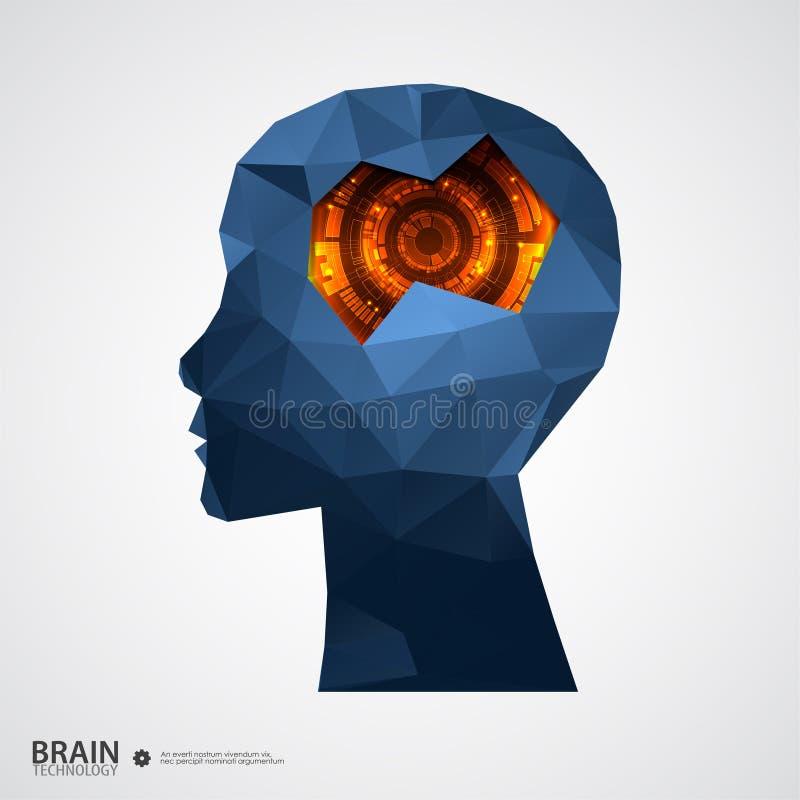 与三角栅格的创造性的脑子背景 皇族释放例证