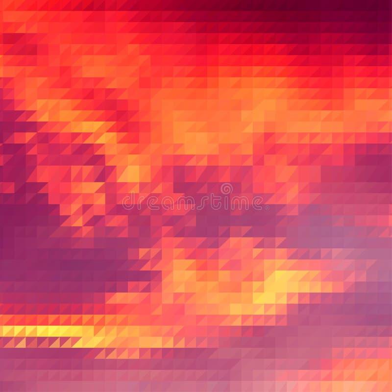 与三角栅格的日落主题的背景 库存例证