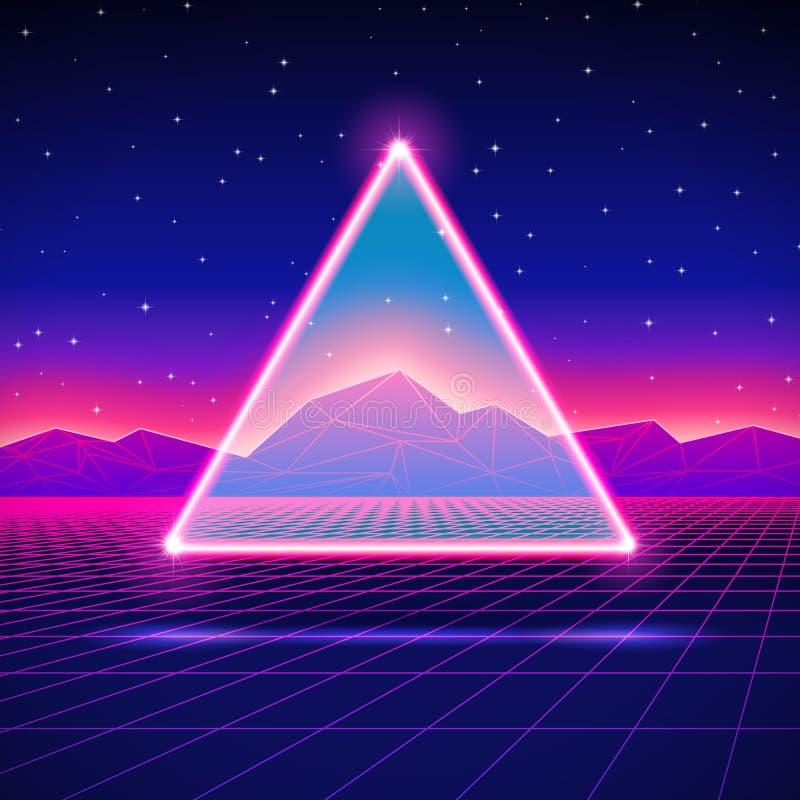 与三角的减速火箭未来派风景和发光 向量例证