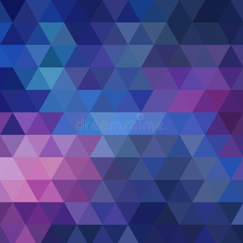 与三角的抽象五颜六色的传染媒介背景 发光的几何马赛克 蓝色三角样式 10 eps 向量例证