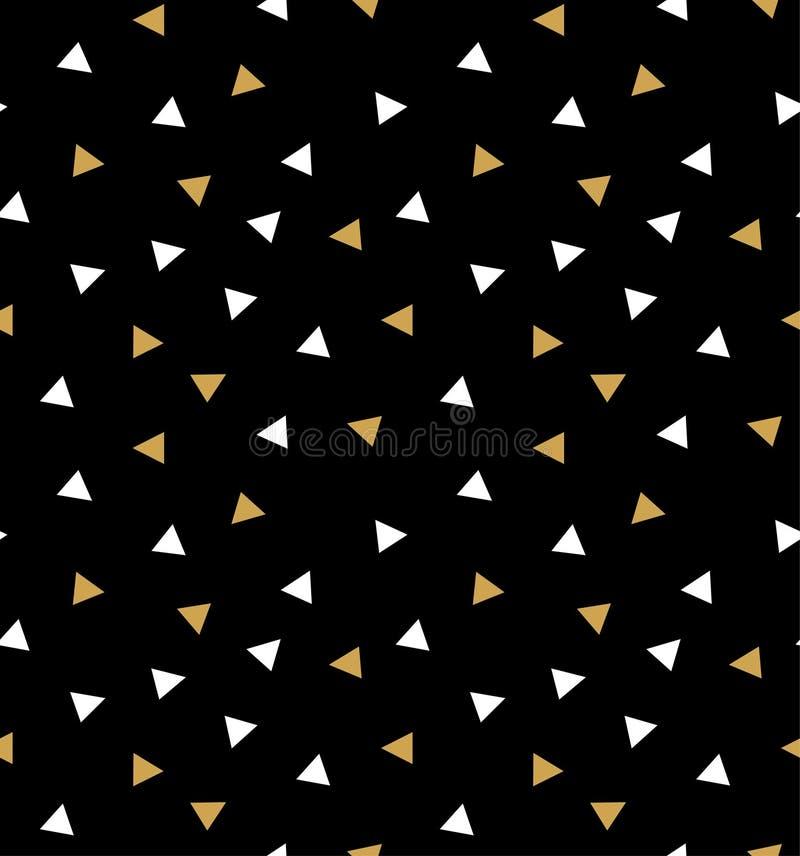 与三角的抽象无缝的在深灰背景的样式在金子和白色 库存例证