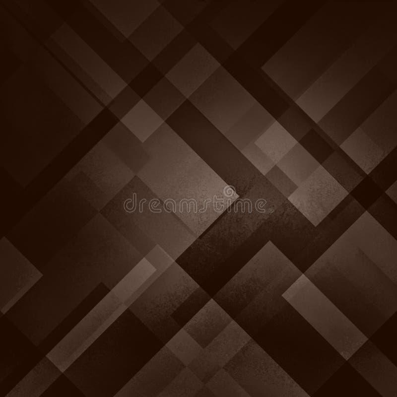 与三角的抽象棕色背景和在当代现代艺术分层堆积的长方形形状设计,温暖的咖啡颜色 库存例证