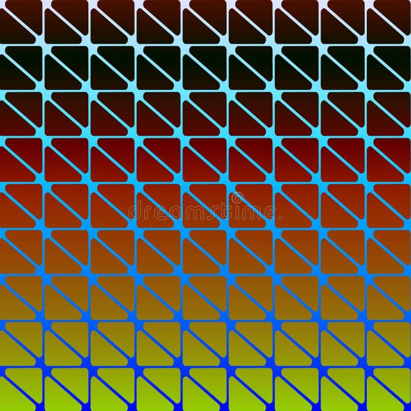 与三角的抽象现代原始的背景与在黑的圆角落和红色和黄色 葡萄酒时尚几何Des 皇族释放例证