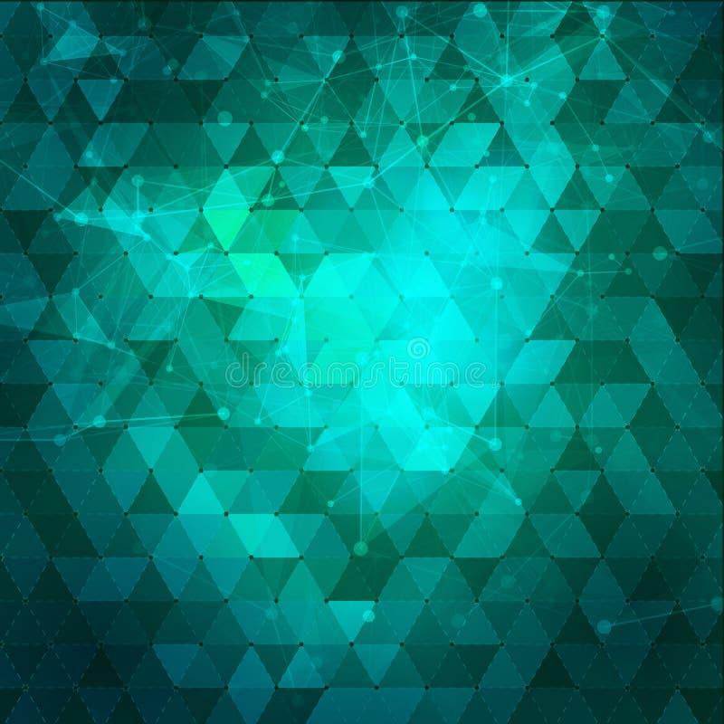 与三角的抽象蓝色和绿色背景 库存例证