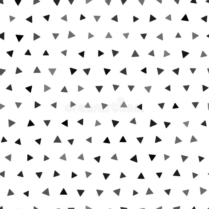 与三角的无缝的几何样式 传染媒介黑白背景 向量例证