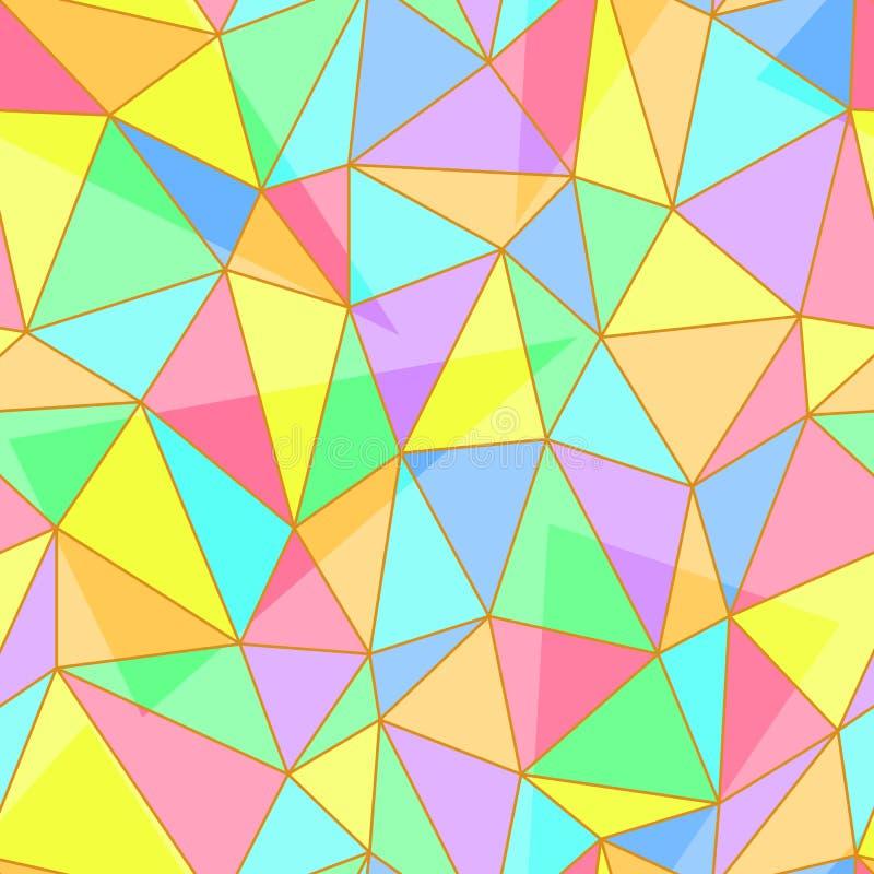 与三角的污迹玻璃窗盘区的抽象无缝的样式塑造, eps10传染媒介例证 向量例证