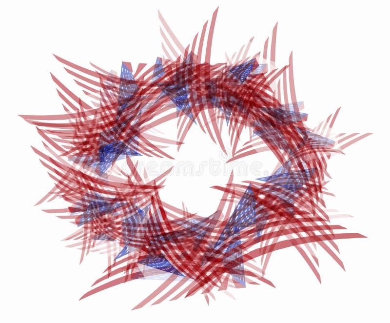 与三角美国旗子的卵形边界框架 向量例证