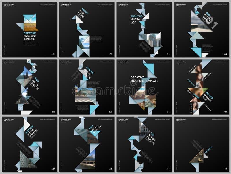 与三角,三角形状,多角形的最小的小册子模板 盖子设计方形的飞行物的模板 皇族释放例证
