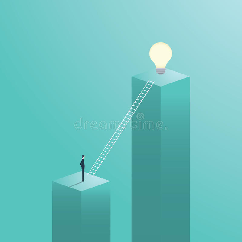 与上升在梯子的商人的创造性的解答企业传染媒介概念到一个电灯泡 向量例证