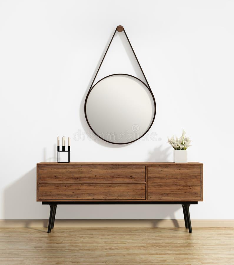 与上尉的圆的镜子的嵌墙桌子 库存照片