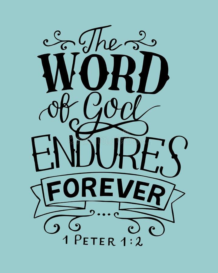 与上帝语言永远忍受的圣经诗歌的手字法 库存例证