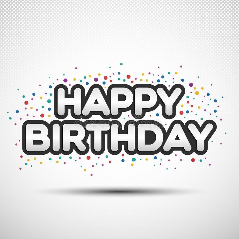 与上色的生日快乐词组围绕五彩纸屑 向量例证