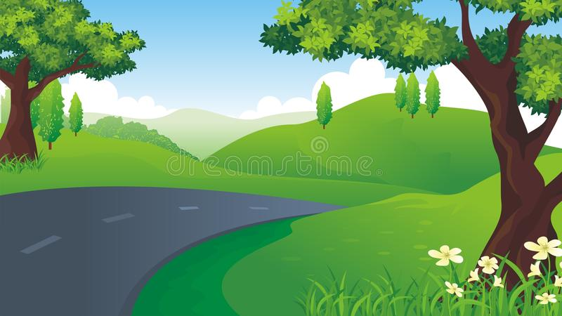 与下坡路的新自然风景 皇族释放例证