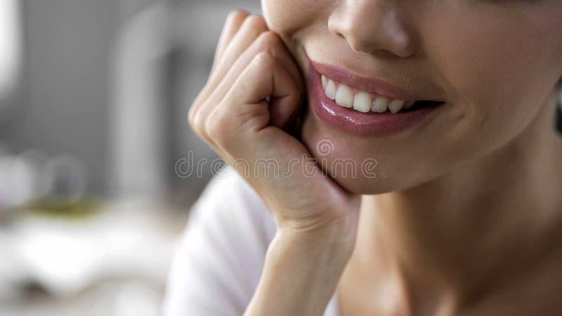 与下巴的愉快的亚洲妇女面孔在手边,胶原射入,皮肤学 库存图片