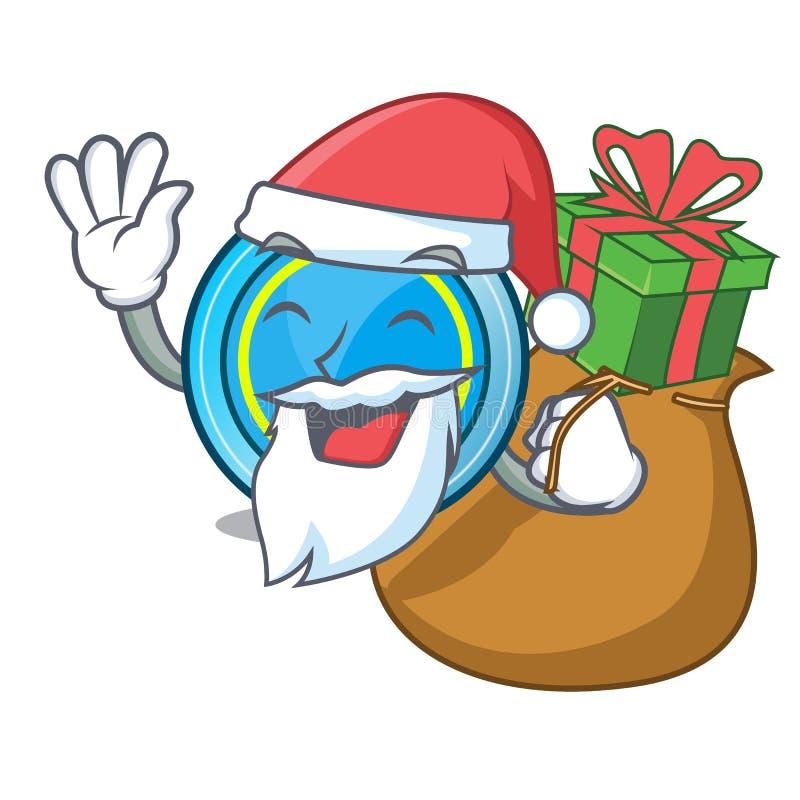 与下礼物的飞碟的圣诞老人一张木动画片桌 库存例证
