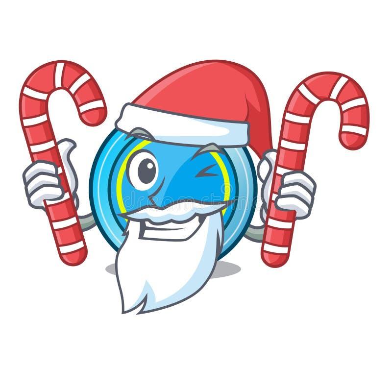 与下糖果的飞碟的圣诞老人一张木动画片桌 向量例证