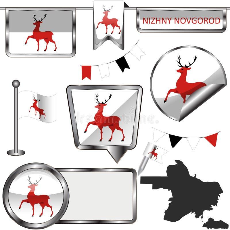 与下诺夫哥罗德旗子的光滑的象  免版税图库摄影