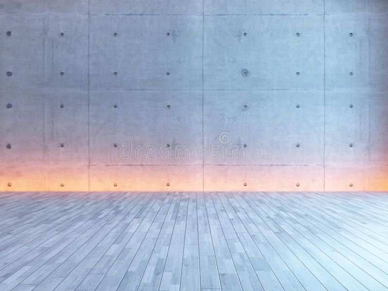 与下面轻混凝土墙壁的空的室内设计 库存照片