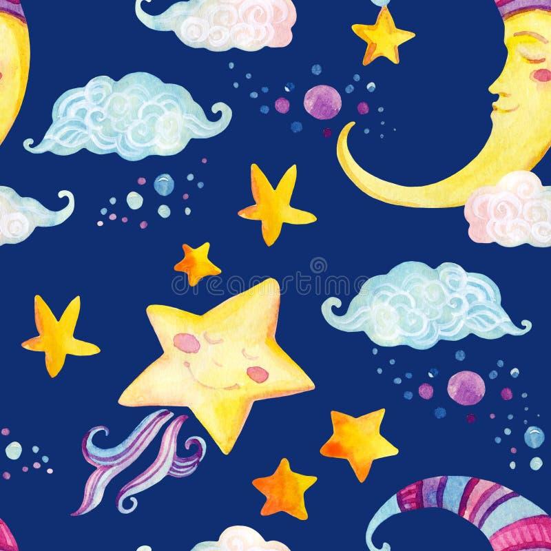 与不可思议的太阳、月亮、逗人喜爱的小的星和神仙的云彩的水彩童话无缝的样式 库存例证