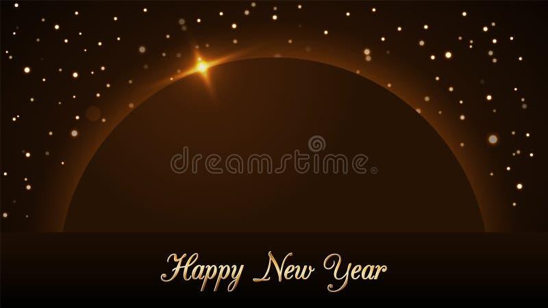 与不可思议的金雨和行星的新年快乐背景 金黄圣诞节设计光,充满活力,焕发和闪闪发光 皇族释放例证