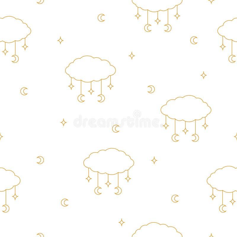 与不可思议的金黄云彩、月亮和星的无缝的样式在白色背景 皇族释放例证