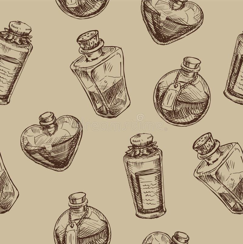 与不可思议的玻璃烧瓶的无缝的样式 库存例证