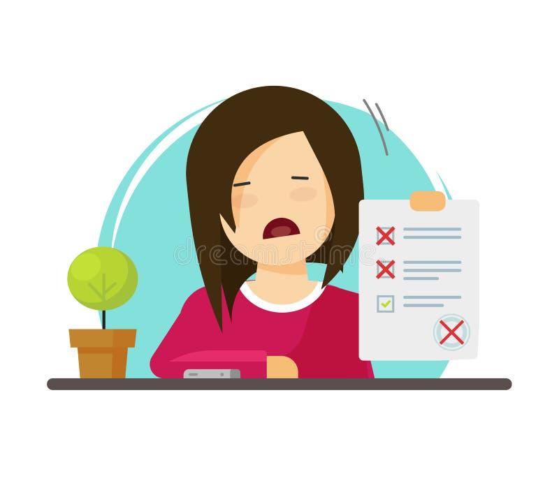 与不合格的评估传染媒介例证、不快乐的字符学生和不正确答复调查的检查纸形式,坏 向量例证