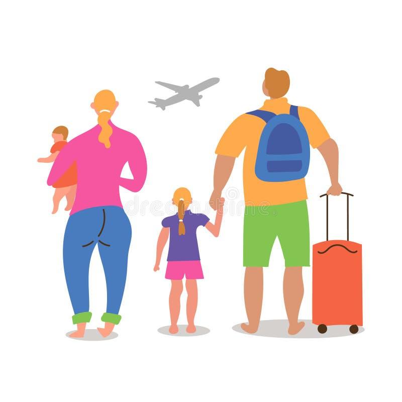 与不同的国籍的孩子的一对已婚夫妇去休假飞行飞机 库存例证