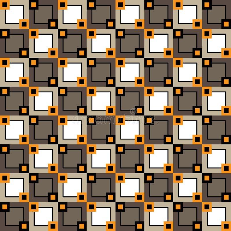 与不同的大小和颜色正方形的无缝的样式  库存例证