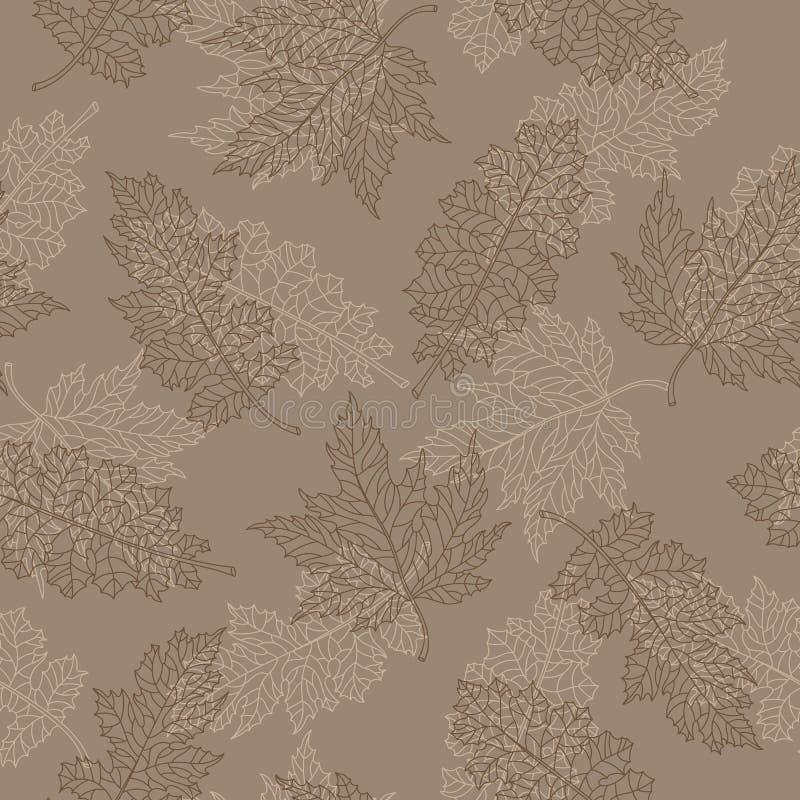 与不同的树等高有花边的棕色叶子的无缝的例证在米黄背景的 库存例证