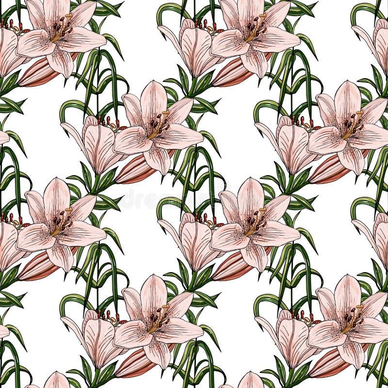 与不同的百合五颜六色的花束的无缝的样式  库存例证
