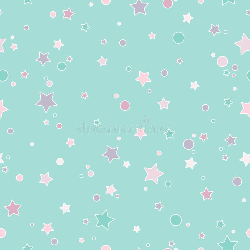 与不同的颜色一点被环绕的星和圈子的无缝的逗人喜爱的样式与概述的 浅灰蓝色 向量例证