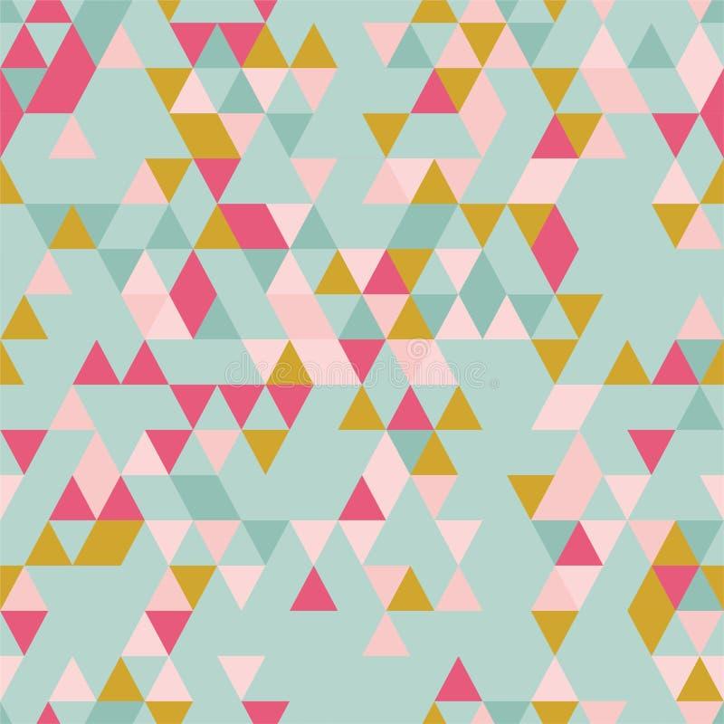 与不同的颜色三角形状的Riangle无缝的背景  库存例证