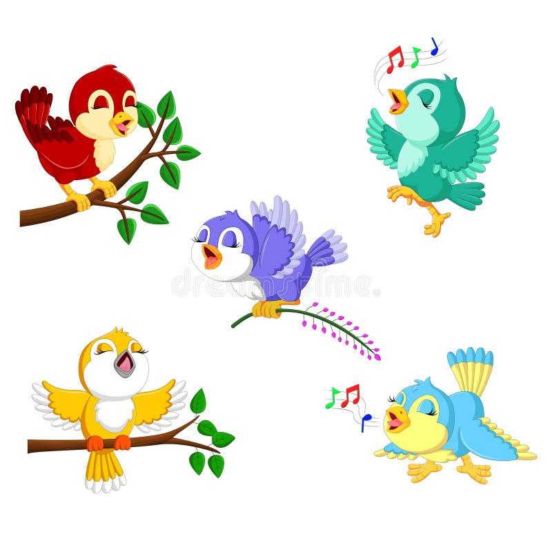 与不同的颜色和活动的汇集鸟 库存例证