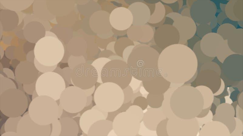 与不同颜色许多圈子移动的云彩的抽象背景  ??? 布朗,黄色,米黄泡影 皇族释放例证
