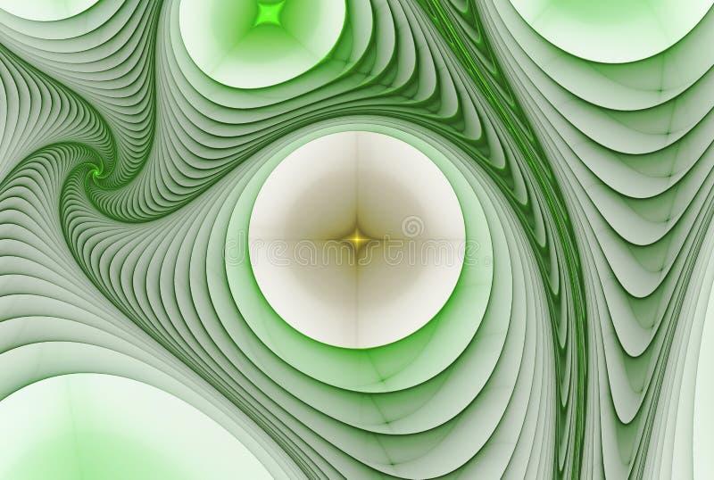 与不对称的凹道的抽象背景与绿色和白色 库存例证