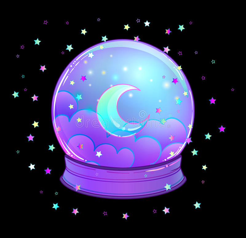 与与彩虹月亮和五颜六色的星的水晶球 库存例证