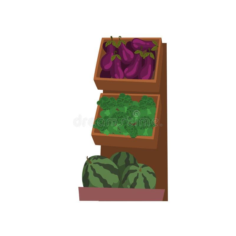 与与新鲜的自然有机蔬菜和水果,街道商店陈列室传染媒介例证的市场木柜台 皇族释放例证