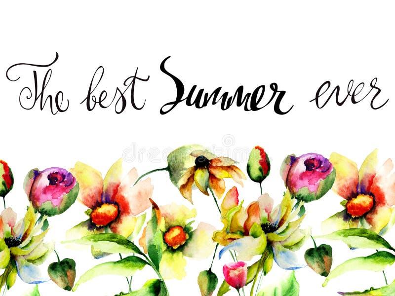 与与标题的原始的花卉背景最佳的夏天  库存例证