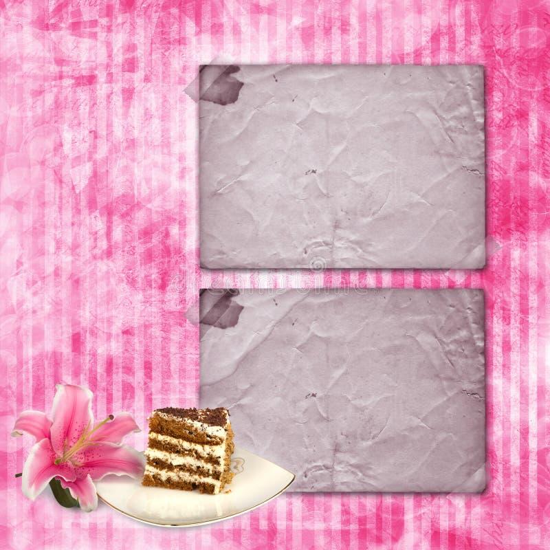 与与百合花和蛋糕的葡萄酒明信片 皇族释放例证