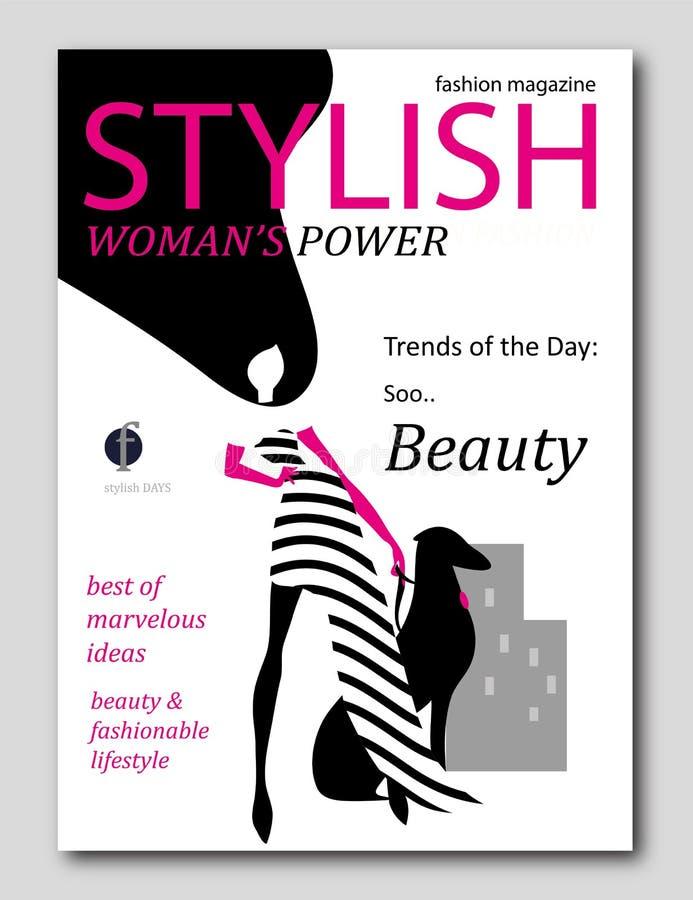 与与黑发的抽象妇女剪影和与狗的桃红色手套在流行艺术样式 时装杂志盖子设计 向量例证